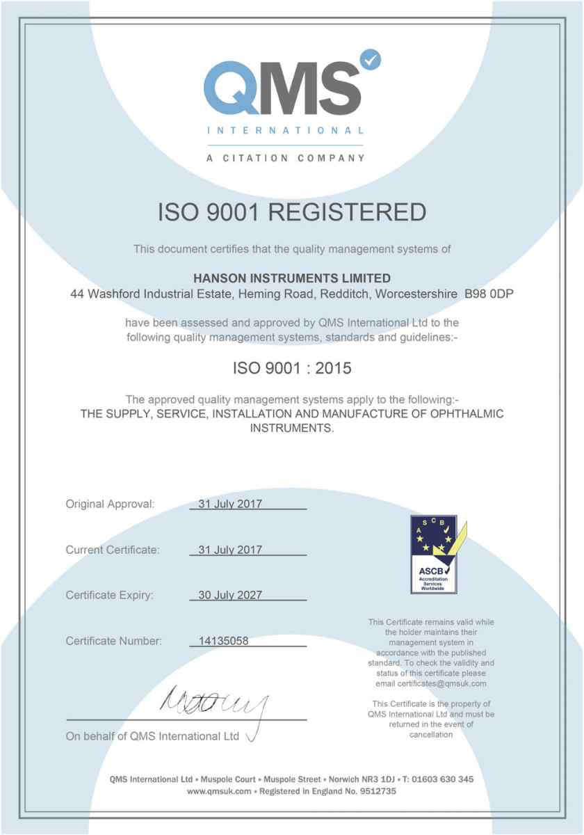Hanson Instruments ISO 9001 Registered